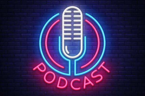 Podcast image with a microphone